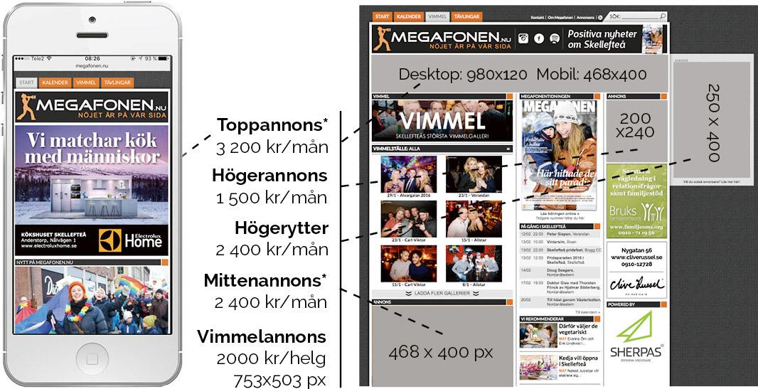 Megafonen storlekar webb